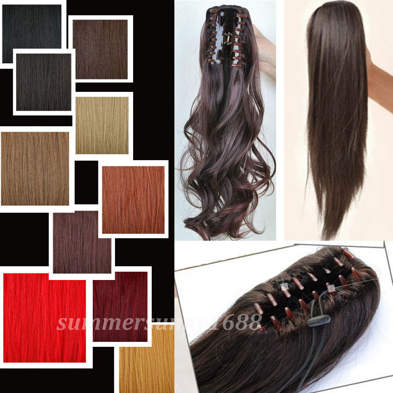 Buy Long 18inches Lady Women Claw Ponytail Clip In Pony Tail Hair Extension