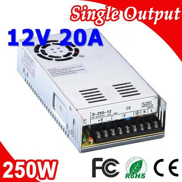 S-250-12 250W 12V 20A Transformer LED Switching Power Supply 110V 220V AC to DC 12V output s 250 12 12v 20a 250w switching power supply silver