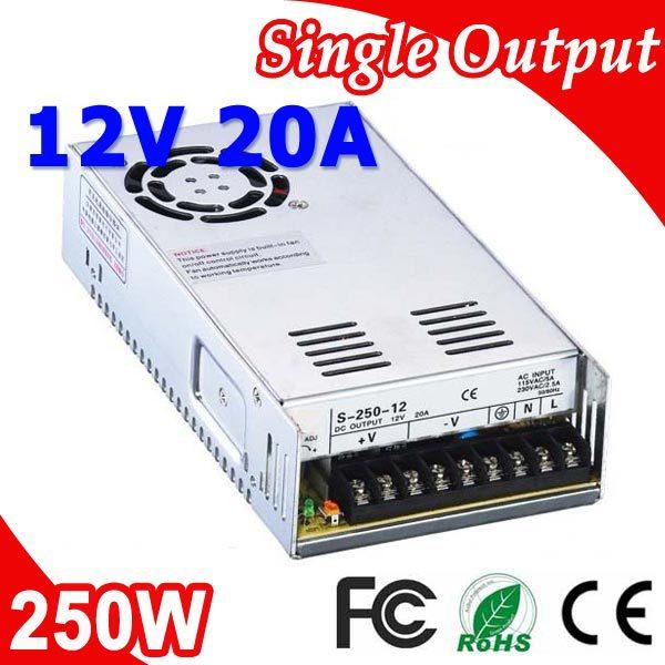 S-250-12 250W 12V 20A Transformer LED Switching Power Supply 110V 220V AC to DC 12V output meanwell 12v 350w ul certificated nes series switching power supply 85 264v ac to 12v dc