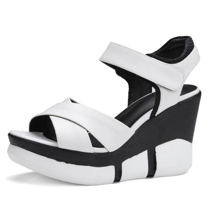 Full Grain Leather 2017 Summer Women's Hook & Loop Wedges heel white sandals ladies Platform Shoes for women phyanic 2017 summer women sandals platform wedges sandals hook