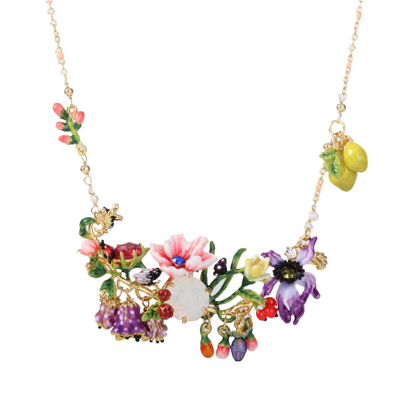 Statement romantic blooming flowers gem necklace for women enamel glaze bud branch pendant necklaces party jewelry unique mermaid with shell pendant necklace for women enamel glaze fashion choker necklaces lady party jewelry