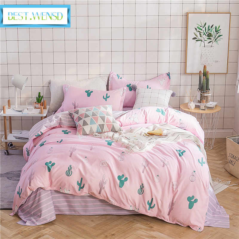 BEST.WENSD Quilt cover bedsheet pillowcase 3/4pcs/set bedclothes Pastoral style cactus bed Polyester /Cotton kids bedding set