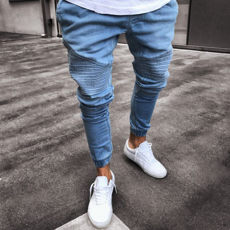 2018 Men Distressed   jeans   pleated skinny biker trousers black blue   jeans   with Pleated patchwork slim fit hip hop   jeans   men pants