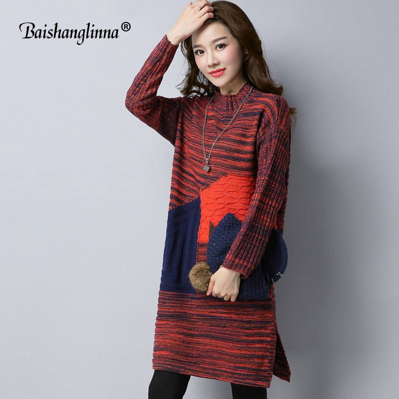 Baishanglinna 2017 Autumn Winter dress women dress wool knitted clothes cashmere sweater plus size Turtleneck dress casual warm italian light high quality 2017 autumn winter new brand women s wear national knitted wool sweater dress plus size s xxl 4 color