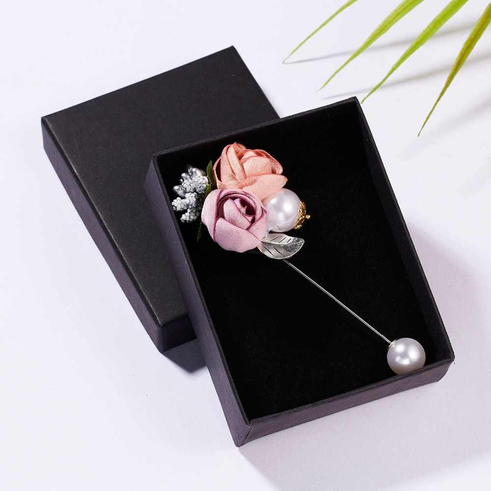RINHOO Wanita Kain Seni Mutiara Kain Bunga Bros Pin Cardigan Kemeja Selendang Pin Profesional Mantel Lencana Perhiasan Aksesoris