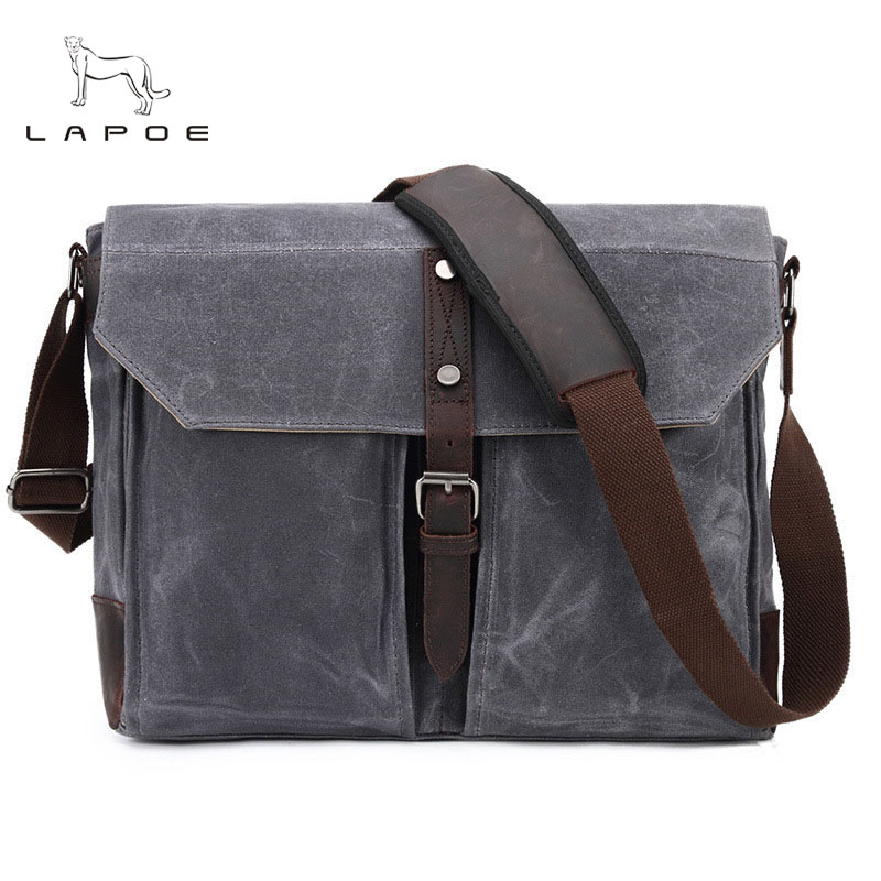 Waterproof Canvas Leather Crossbody Bag Men Military Army Vintage Messenger Bags Postman Large Shoulder Bag Office Laptop Case new arrival canvas leather crossbody bag men military army vintage messenger bags postman large shoulder bag office laptop case