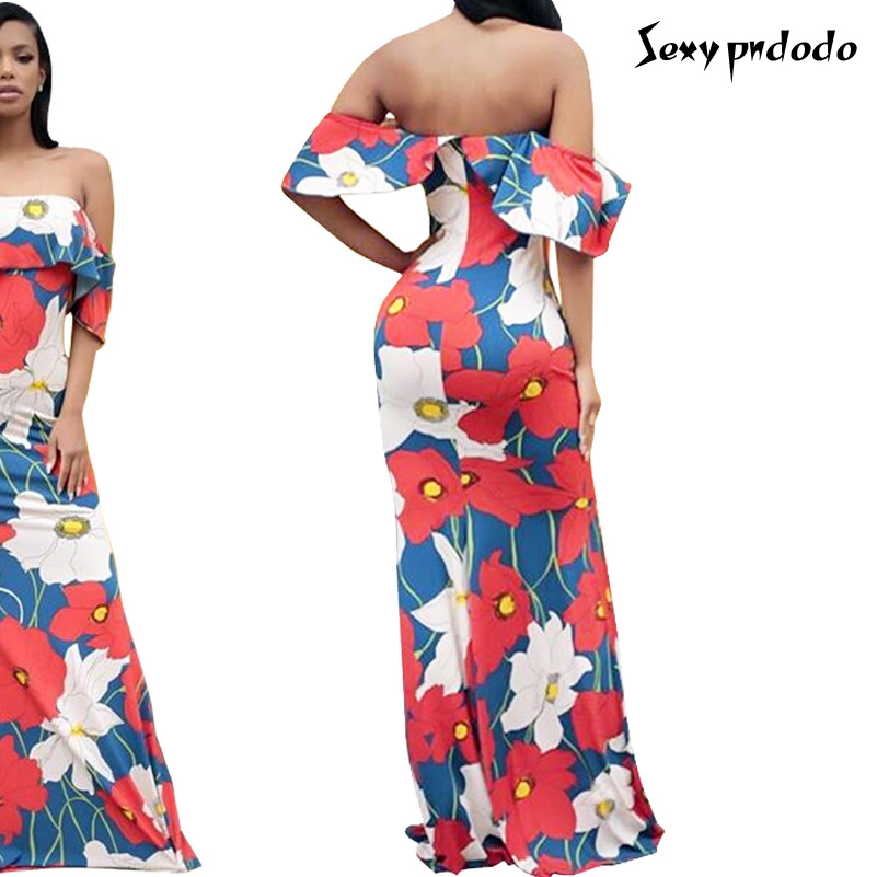 Maxi Long Dress Flower Printed Dresses Slash Neck Backless Sexy Fashion Design Bandage Dress Elegant Womens Dress 2016 Fashion