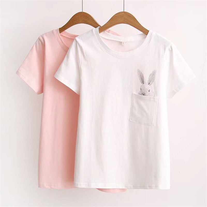 Cute Rabbit Cartoons T Shirt Fashion Women Ladies Loose Casual Short Sleeve O-neck T-Shirt Cotton Pockets Top T-Shirt Blusas