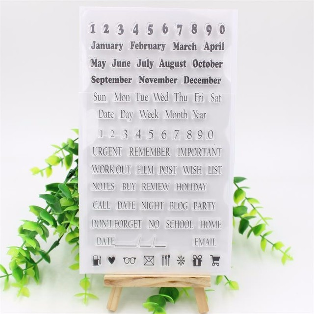 1 sheet Number Monthes Weeks Transparent Clear Silicone Stamp for DIY Scrapbooking/Card Making Decoration Supplies
