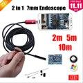 7 MM 2EN1 USB Endoscopio Android Cámara 2 M/5 M/10 M Tubo de La Serpiente Tubo Impermeable Teléfono PC Endoskop Inspección Boroscopio Cámara Mini
