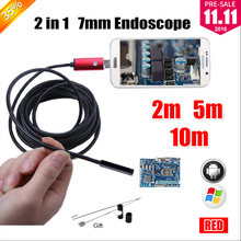 7MM 2IN1 USB Endoscope Android Camera 2M/5M/10M Snake Tube Pipe Waterproof Phone PC Endoskop Inspection Borescope Mini Camera