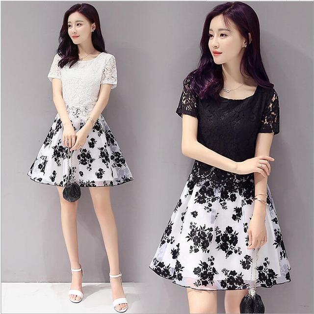 2018 Summer New Korean Fashion Dress Dummy Two Pieces Splicing Lace