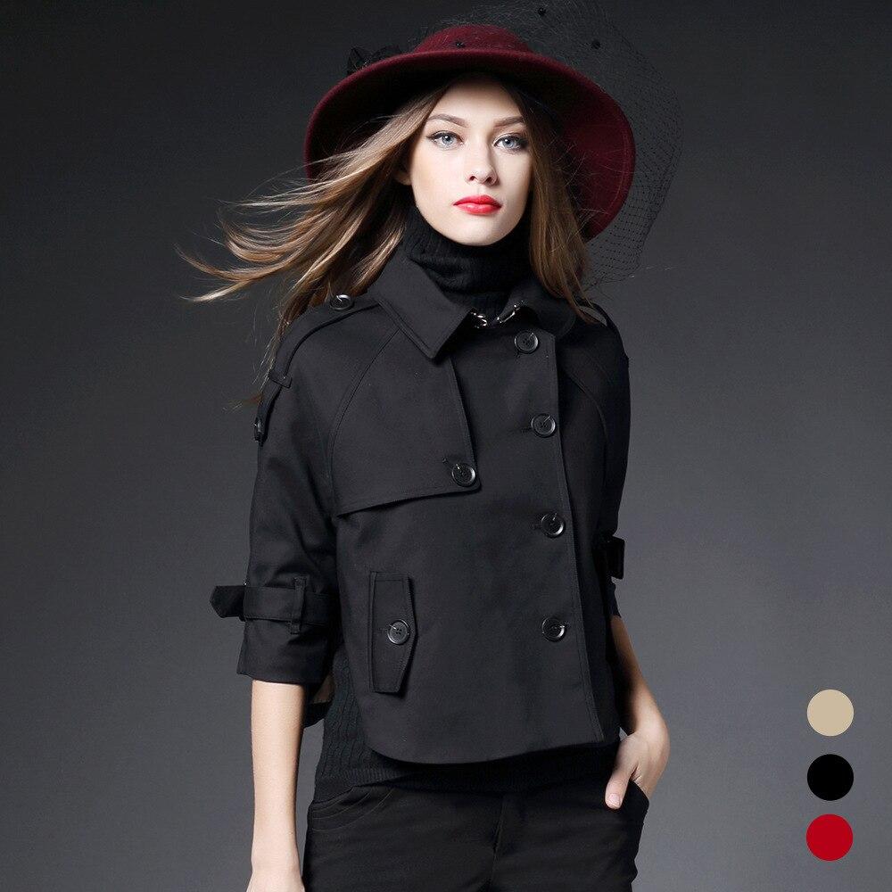Woman sexy trench coat bat type Short-Length windbreaker women cloak loose temperament female brand luxurious coat hood lady
