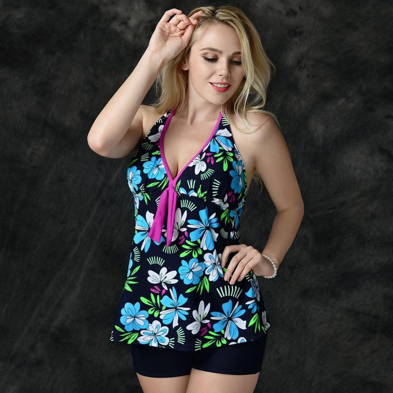 2017 Hot Boxers Floral Vest Two Piece Suits Tankinis Set Swimsuit Bathing Suit For Women Girl Swimwear Plus Size XL-5XL