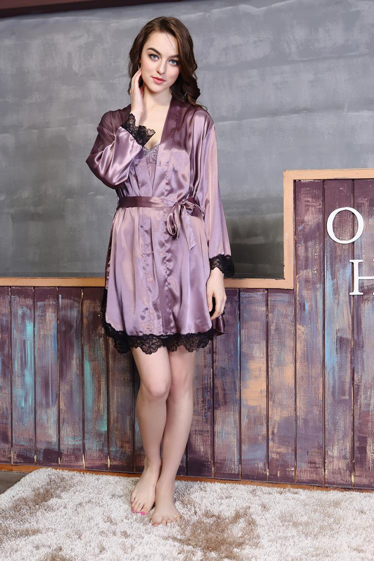 0994106c7a6c Women Lace Robes Sumner Nightgown Mini Nightdress Long sleeve V pajamas  sexy Bathrobe Camisole family matching M L XL PN16128-in Robes from  Underwear ...