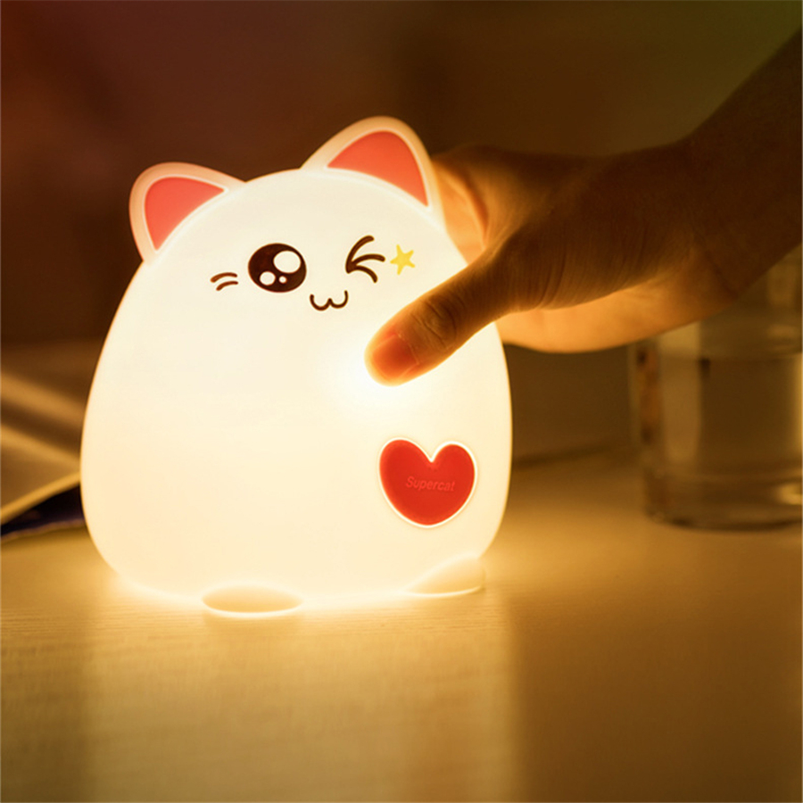 LED Night Light Cat Animal USB Charge Silicone Cartoon Nursery Lamp Baby Night Lamp Children Birthday Gift Toy