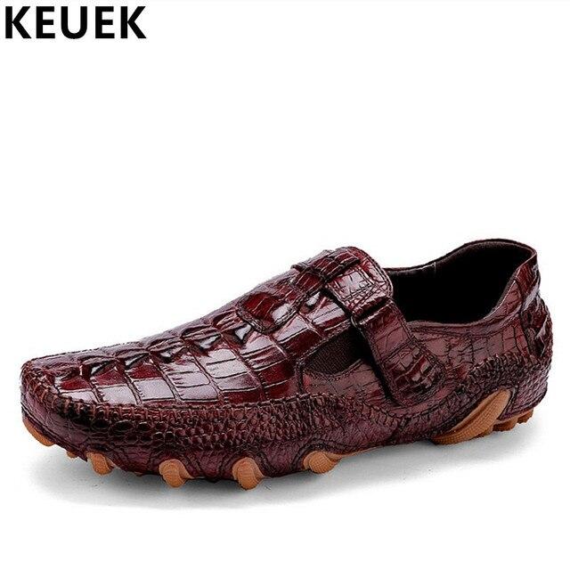 Zapatos cocodrilo de lujo de hombres, mocasines piel suave, zapatos antideslizantes resistentes al desgaste.