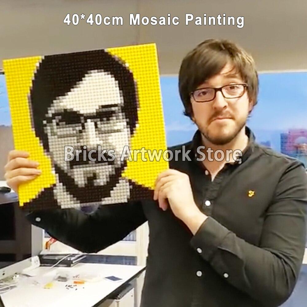 50x50 بكسل الفن MOC مجموعة فسيفساء اللوحة الخاص مخصصة تصميم بالنسبة لك بناء نفسك اللبنات 40x40 سنتيمتر الإبداعية هدية-في حواجز من الألعاب والهوايات على  مجموعة 1