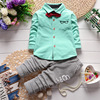 New 2016 Baby Boy Clothing Sets Children Bow Tie T Shirts Glasses Top Pants Kids Cotton