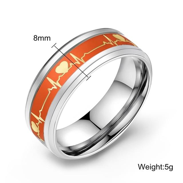 Luminous Heart Electrocardiogram Bohemian Ring