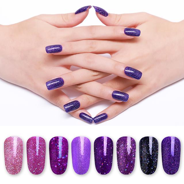 LILYCUTE 8ml Purple Sequins UV Gel