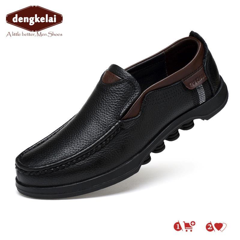 DENGKELAI Casula Chaussures Hommes Fil Rouge Noir Chaussures En Cuir Mâle Portable Anti-Slip Élégant Hommes Chaussures