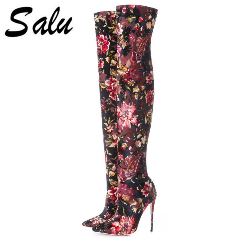 Salu stretch fabric Women ankle Boots Sexy High Heels Pointed toe Autumn Winter Boots Fashion Women's Shoes