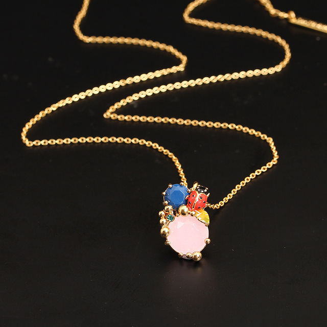 New Arrivals Enamel Glaze Concise Joker Insect Ladybug Crystal Necklace Clavicle Chain Gold-plated Mixed Batch Woman