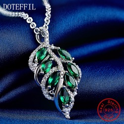New Arrivals 925 Silver Necklace Woman AAAA Quality Zircon Leaves Pendant Necklace Fashion Charm Silver Necklace