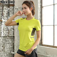 Summer Quick Dry Gym T-shirt Women Breathable Elastic Workout Tops Women Running Jogging Training Sportswear Sport Reflective