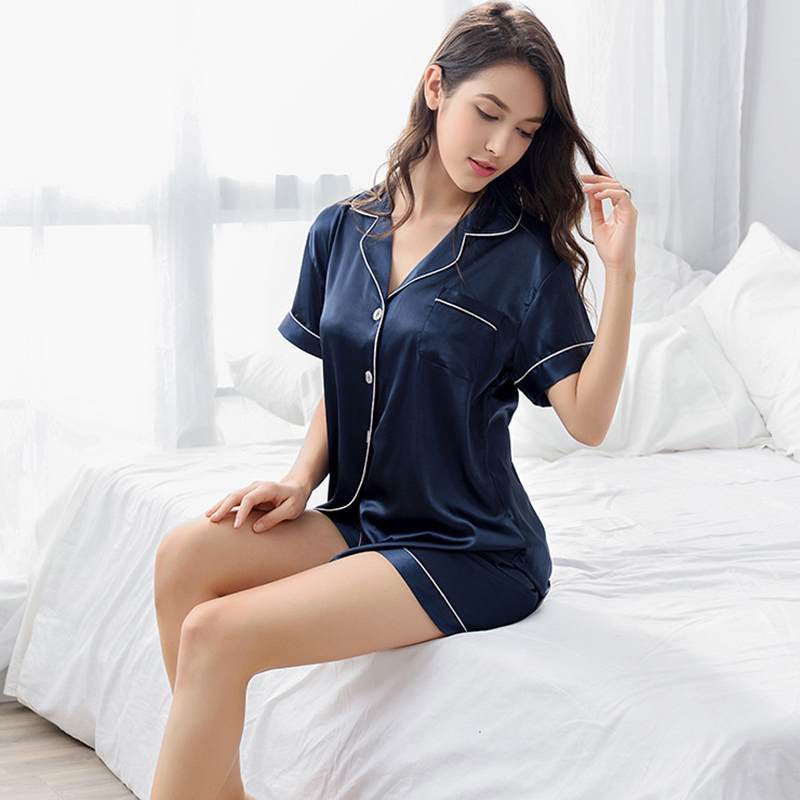 Brand 2018 Summer Style Women Chinese Satin Silk   Pajamas     Sets   of T-shirt & Shorts Female Superior Sleepwear Nighty Suit