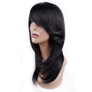 Image 2 - אמיר בינוני אורך ישר סינטטי פאה עבור נשים טבעי Ombre שחור כדי אדום צבע שיער עם פוני חום עמיד