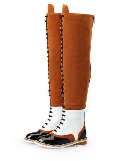 Лидер продаж цепи ботфорты коричневый, черный смешанные цвета, плоский обтягивающие высокие сапоги женские зимние высокие сапоги обувь на
