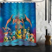 Best Nice Custom Pokemon Pikachu Shower Curtain Bath Curtain Waterproof Fabric For Bathroom MORE SIZE WJY
