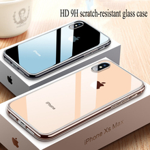 Creative iPhone XS transparent glass case Apple XSmax mobile phone iPhone6/7/8plus/XR ultra-thin anti-fall protective cover