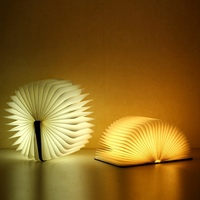 Creative Fashion LED Night Light Folding Book USB Port Rechargeable Wooden Magnet Cover Home Table Ceiling Decor Light