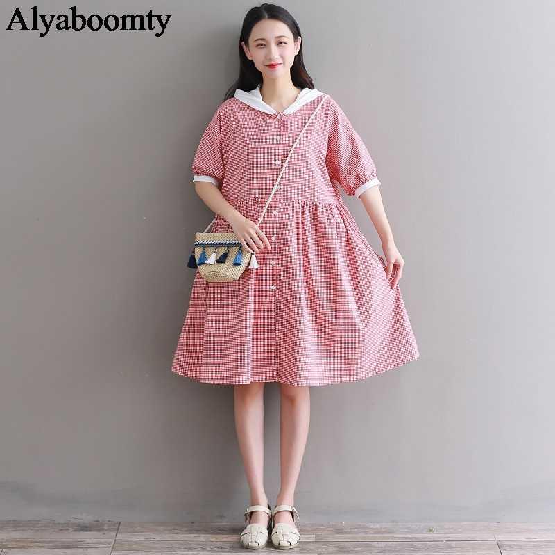 2019 японский Мори девушка летнее женское платье-рубашка с капюшоном красное клетчатое повседневное Свободное платье с коротким рукавом хлопковое льняное студенческое платье