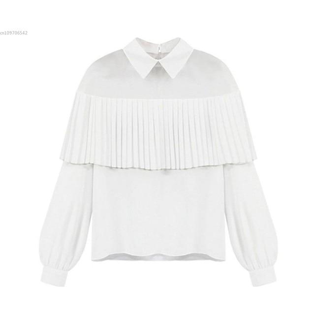 e48e446699a2ba Women Fashion Sexy Sheer Mesh Patchwork Pleated Ruffle Long Sleeve Chiffon  Blouse