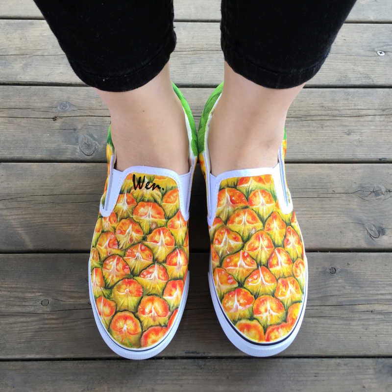 Wen Original Hand Painted Shoes Design Custom Fruit Series Pineapple Yellow Slip On Canvas Sneakers for Man Woman Unique Gifts wen original hand painted shoes design rainbow color heart pattern pink slip on canvas sneakers gifts for girls women