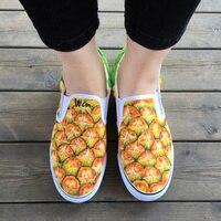Wen Originale Dipinto A Mano Scarpe di Design Personalizzato Serie di Frutta Ananas Giallo Slip On Canvas Sneakers per Uomo Donna Regali Unici