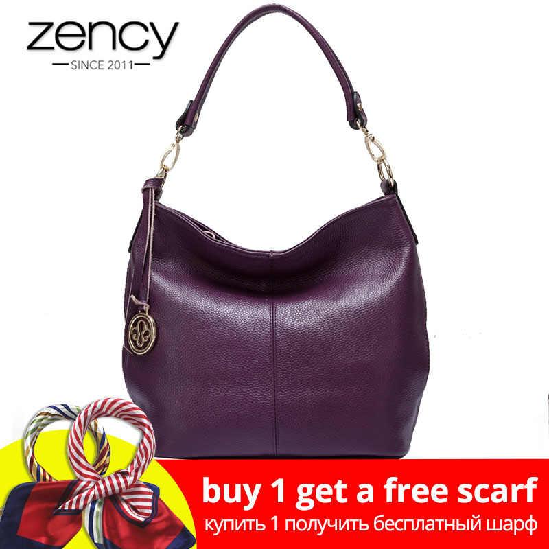 Zency Luxury Purple Women Shoulder Bag 100% Genuine Leather Tote Handbag  Black Fashion Lady Crossbody 6d33020018601