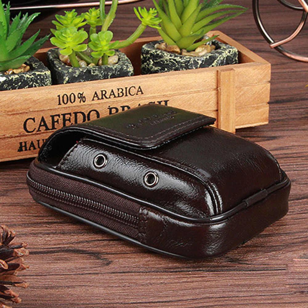 男性本革牛革ファニーパックベルトヒップボムウエストバッグ旅行携帯/携帯電話ケースタバココイン財布