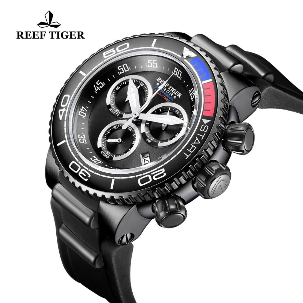 Reef Tiger/RT Top Brand Luxury Military Watches Black Steel Analog Quartz Running Watches Relogio Masculino RGA3168 機械 式 腕時計 スケルトン
