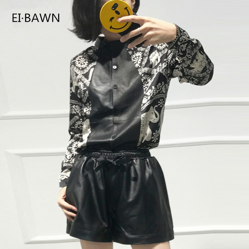Sale 2018 Women Tops And Blouses with Genuine Leather Black Long Sleeve Korean Fashion Blouse Women Plus Size Tops Spring Autumn