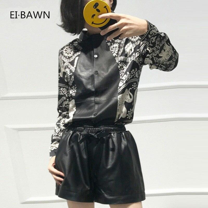 Vente 2019 femmes hauts et chemisiers avec cuir véritable noir à manches longues mode coréenne Blouse femmes grande taille hauts automne
