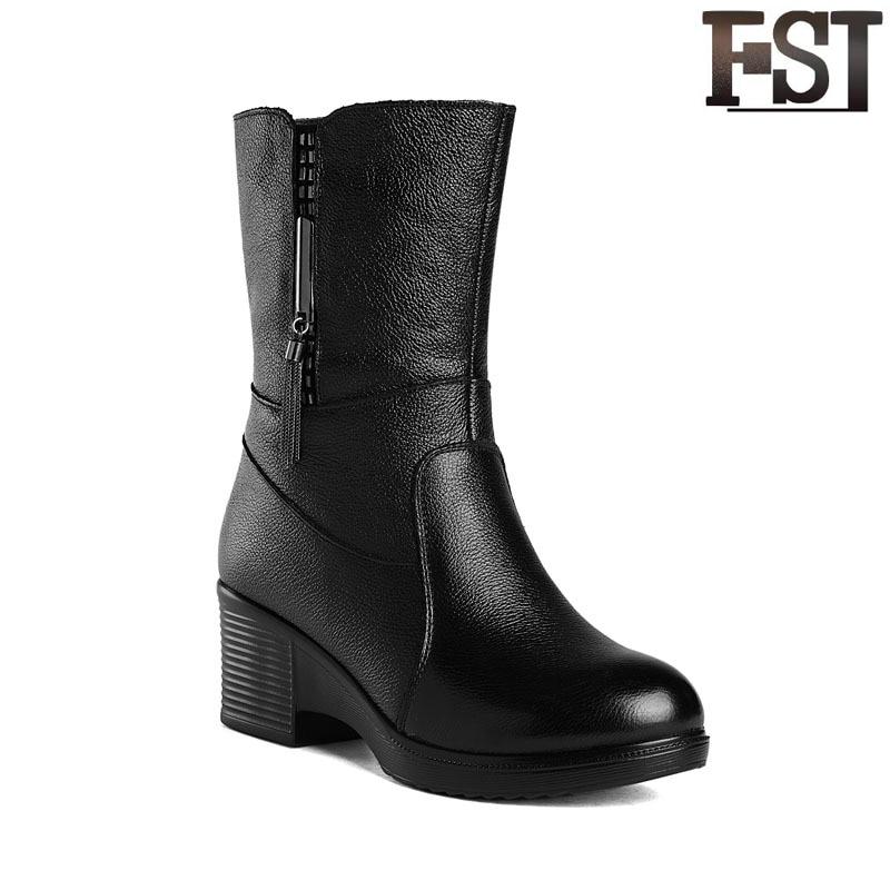 Zip Fsj Printemps Femme Bout Noir Chaussures Véritable Dames Peluche Épais Solide Bottes Talons Matures En mollet Cuir Fsj01 Mi 2019 D'hiver Rond qrzBwAq