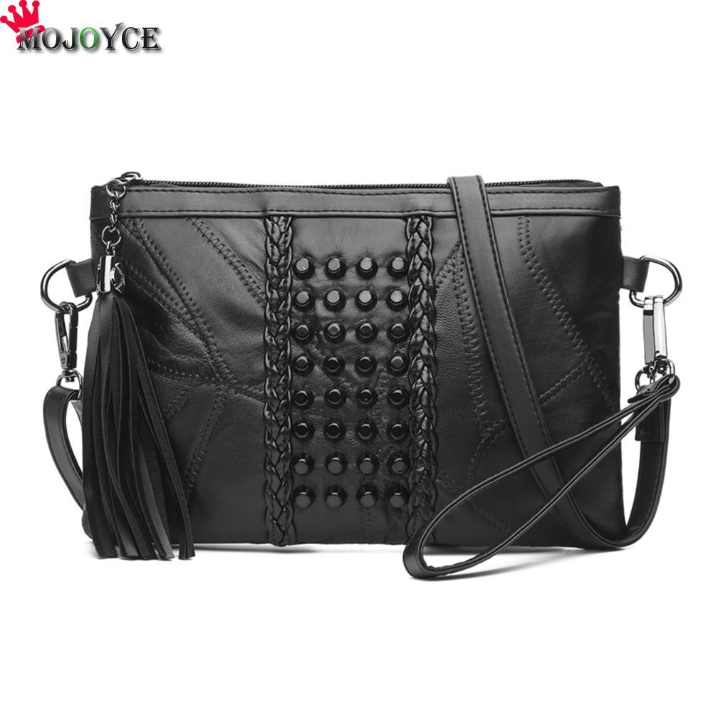 MOJOYCE Rivets Women Fashion PU Leather Plaid Flap Bag Female Thread Handbags Lady Shoulder Bag Straps Totes Envelope Bag Clutch