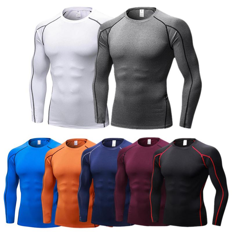 2018 Men's Quick Dry Breathable T-Shirt Fitness Hip Hop T-Shirts Men Sport Long Sleeve Gym Fitness T Shirt classic plaid pattern shirt collar long sleeves slimming colorful shirt for men