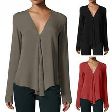 Autumn Women's Blouses Tops Casual Fashion Sexy V-neck Long Sleeve Shirts Office Ladies Blouses Chiffon Shirt Solid Black Red OL