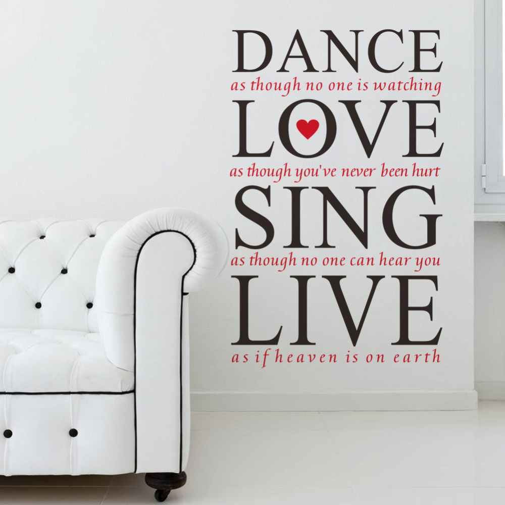 popular bedroom wall sticker quotes buy cheap bedroom wall sticker 23 36 dance love sing live quotes wall decals vinyl wall stickers bedroom